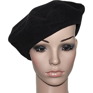 Vintage Hat // 1940s // Black // Tam Hat // Satin Lined // Wool // Retro // Beret // 40s Hat