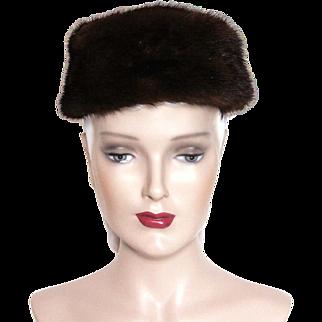 Vintage 1960s Mink Hat// Brown Mink // Pillbox Hat// Designer Innes // Designer Mink Hat //femme fatale