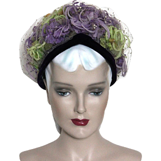 Vintage Hat// 1950's // Netting // Pillbox Hat // Purple // Green // Velvet Trim // Garden Party // Floral // 50s hat