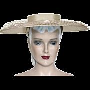 Vintage Hat// Wide Brim // 1950s // Tan // Lace // Floral // Wax Beads // Big Hat // Garden Party // Rockabilly // femme fatale