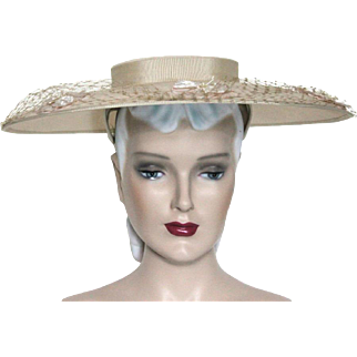Vintage Hat// Wide Brim // 1950s // Tan // Lace // Floral // Wax Beads // Big Hat // Garden Party // Rockabilly // femme fatale