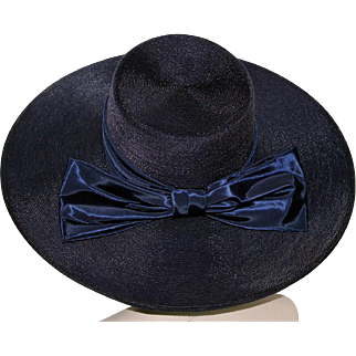 Vintage 1940s Hat//Wide Brim Hat//Designer Mr. John//Navy Blue// Rayon Bow // femme fatale // Couture // 40's Wide Brim Hat