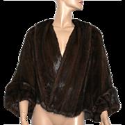 Vintage Mink Jacket// Mink Stole// Brown Mink// Designer// Fur Jacket// Fully Lined// Mink Cape// Wedding Mink