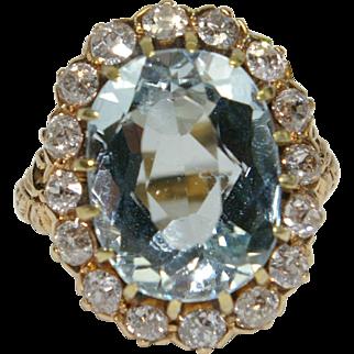 Antique Victorian Aquamarine and Diamond Ring
