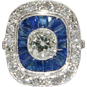 Vintage Art Deco Sapphire and Diamond Ring