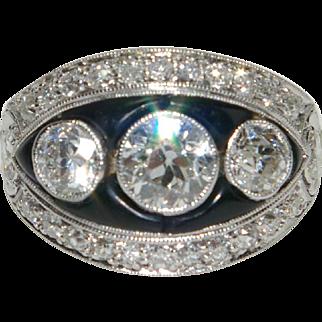 Vintage Art Deco Onyx and Diamond Ring