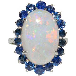 Vintage Retro Opal and Sapphire Ring