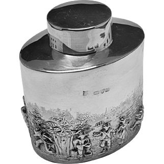 Antique SOLID SILVER STERLING TEA CADDY embossed rural scenes, Chester 1900 Good looking
