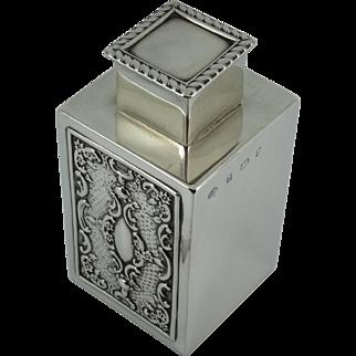 Antique Splendid Solid Sterling Silver Tea caddy box Birmingham 1900 William Hutton