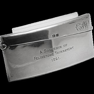 Antique Card Case Felixstowe Tournament Art Deco Sterling Silver 925
