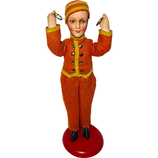 Antique Bellhop Mounted Doll