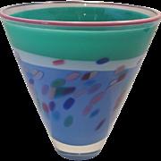 Listed Artist Ricky Bernstein Studio Vase Art Glass / Signed 1988