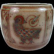 Hjorth Danish Stoneware Vase Denmark Stag signed w/ mark 1920s-30s Listed
