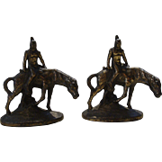 Hubley Littco Native American Indian On Horse Bookends Book Ends