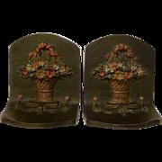 Bradley & Hubbard Flower Basket Bookends Cast Iron Original Paint