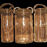 Kastrup Holmgaard Denmark Mid Century 1960s Set 3 Glass Preserve Jars Frisco MCM