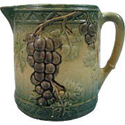 Early Majolica Pitcher Grape Design Roseville Style