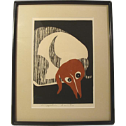 Kiyoshi Saito, Dachshund, woodcut, signed in pencil, (#2 of 2 for sale)