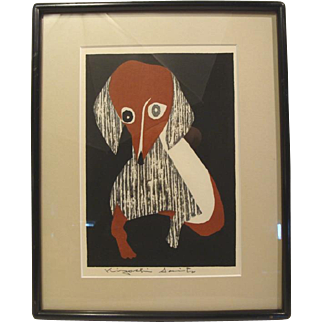 Kiyoshi Saito, Dachshund, woodcut, signed in pencil (#1 of 2 for sale)