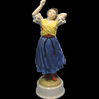 Herend Folk Dancer Signed 5501 Blue Mark