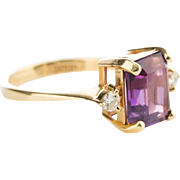 Lovely Diamond, Purple Amethyst and 14k Gold Ring