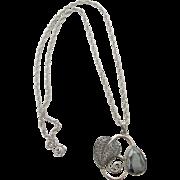 Vintage Danecraft Sterling Silver Necklace With Hematite Pendant