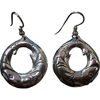 Vintage Sterling Silver Pisces Fish Hoop Earrings Signed
