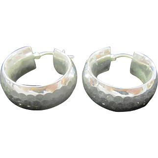 Vintage Hammered Sterling Silver Wide Hoop Earrings
