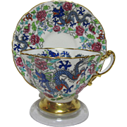 Beautifully Colorful and Rarely Seen Hammersley and Co Fine Bone China Imperial Dragon Cup and Saucer Set