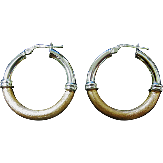 Vintage Milor Italy Sterling Silver With Copper Shimmer Hoop Earrings