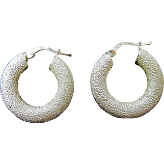 Milor Italy Sterling Silver Shimmer Hoop Earrings