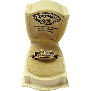 Vintage Solid 14k Yellow Gold Mother's Ring With Four Birthstones
