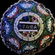 Antique Roma Italian Micro Mosaic Brooch Pin