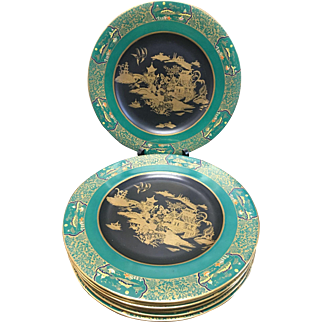 Carlton Ware: Hard to Find set of 8 Hand Painted Plates With  Japanese Design C.1920