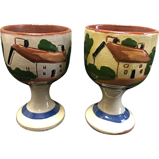 2 Vintage Torquay Pottery England egg cups