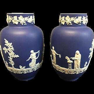 Pair Adams- Tunstall Beautiful Blue Jasperware Vases