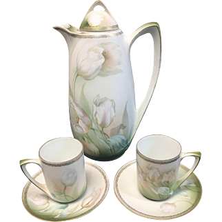 R.S. Germany  Hand Painted Porcelain  Art Nouveau Coffee Pot and Two Cups and Saucers- Signed