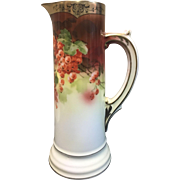 Pretty Antique China  Pitcher Hand Painted With Grapes & Gold- Bavaria