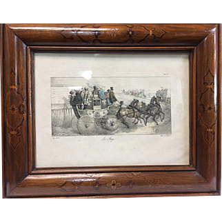 "Antique walnut frame with inlay and lithograph ""Le Stage"""