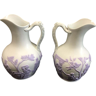 Beautiful Pair of Parian Ware Samuel Alcock Lavender and White Ewers English C.1840