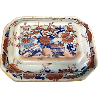"Masons Ironstone ""Old Japan"" pattern Soap Dish with Cover and Liner"