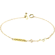 Rose Cut Diamond 18 Karat Gold Bar and Signature Link Trio Chain Bracelet