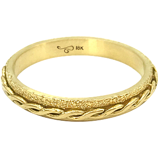 Handcrafted 18 Karat Yellow Gold 3mm Infinity Twist Stackable Eternity Ring