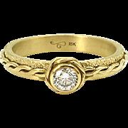18 Karat Yellow Gold Diamond Solitaire Infinity Twist Stackable Ring