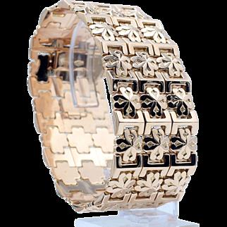 Custom Crafted Mosaic Tile Pattern Heavy Wide Cuff Bracelet in 14 Karat Yellow Gold