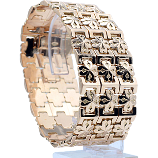 Custom Crafted Mosaic Tile Pattern Heavy Wide Cuff Bracelet in 14 Karat Yellow Gold
