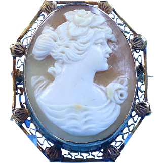 Late Victorian Cameo Shell Brooch With Repoussé & Filigree In 14 Karat Gold