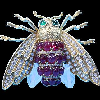 Vintage Retro Diamond Ruby & Emerald Cicada - Bumblebee Brooch in 18 Karat Gold