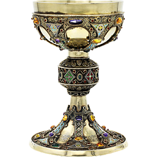 "Vintage Historical Sterling Silver & Gemstone Chalice - Handmade Replica of the 12th century St. Remy ""Coronation"" Chalice"