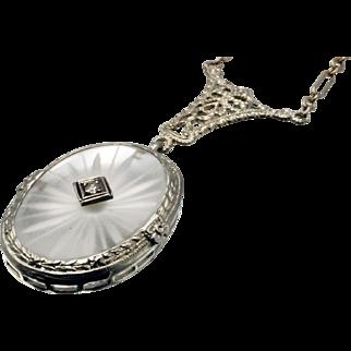 Art Deco Diamond Camphor Glass Pendant in 14 Karat White Gold